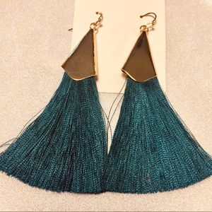 LAST ONE! Teal Color Silken Tassel Earrings